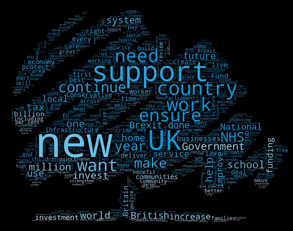 Conservative 2019 manifesto word cloud