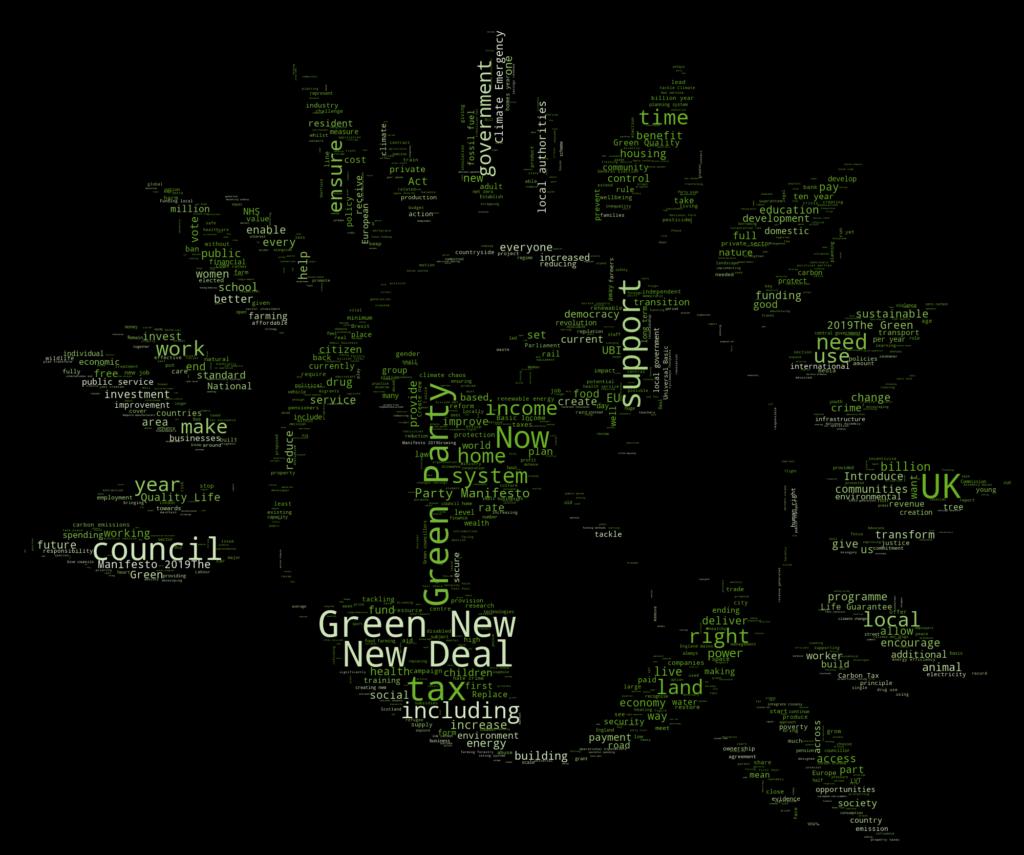 Green 2019 manifesto word cloud